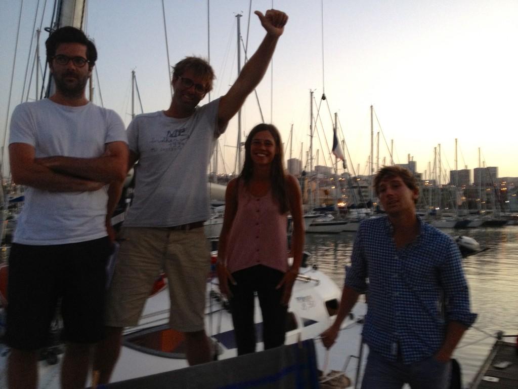 Pollux et son dernier équipage avant de rester seul à Las Palmas pendant 3 mois